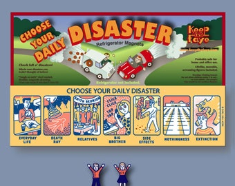 Magnet-Everyday Life - Choose Your Daily Disaster, Fridge Magnet, Interactive Magnet, Refrigerator Magnet, Big Brother, Death Ray, Disasters