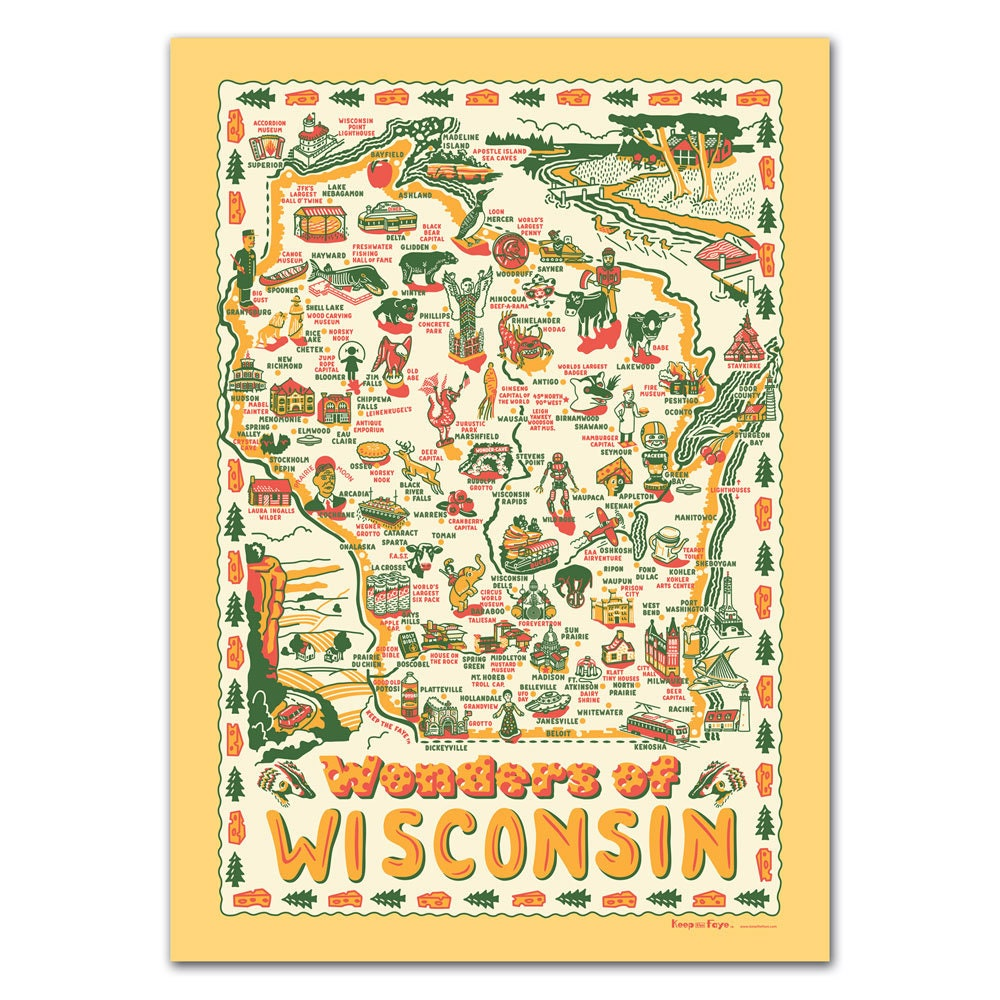 Wisconsin Poster/Gift Wrap Wonders of Wisconsin Map Poster | Etsy on