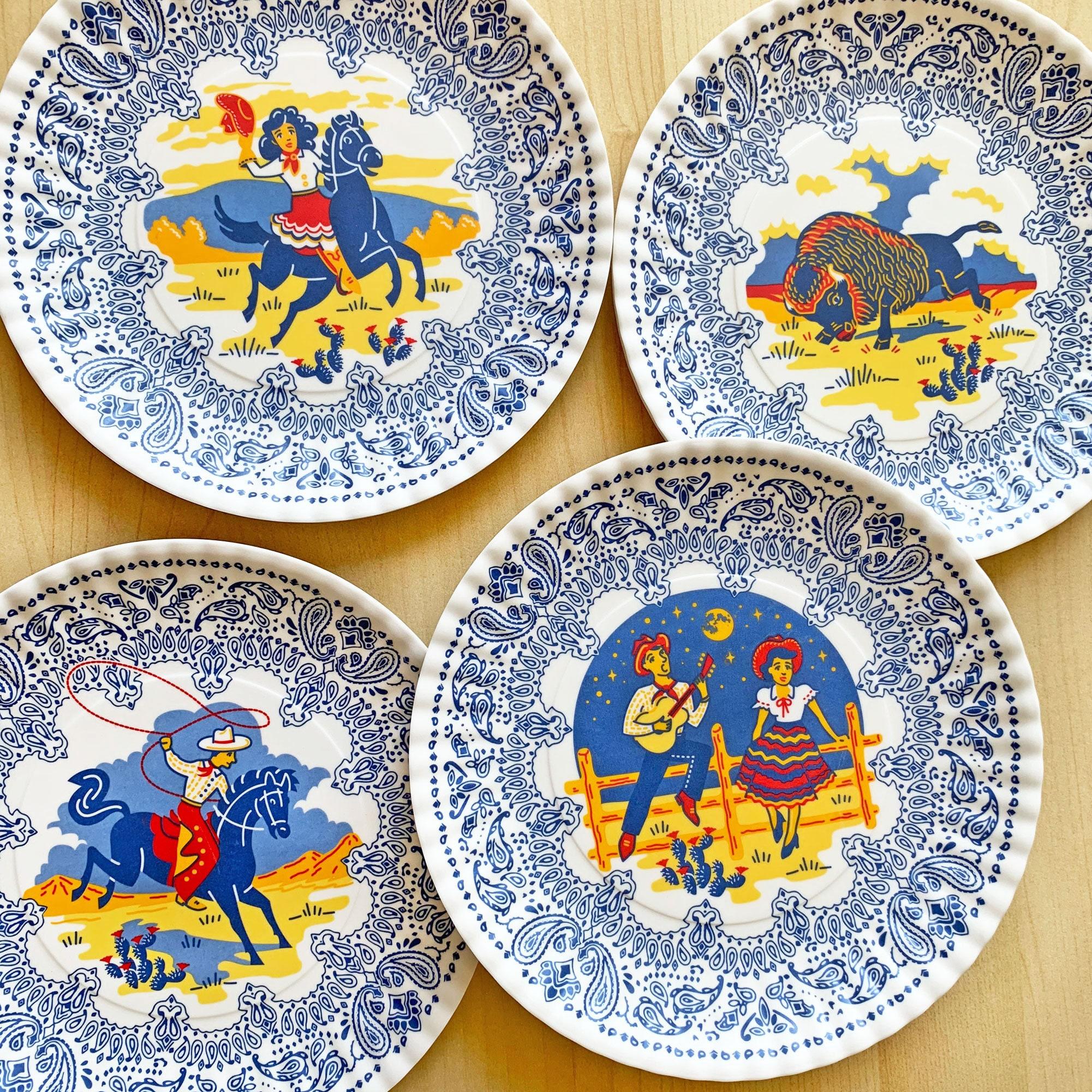 "Western Plates, 9"" Melamine Plates, Set of 4, Cowboy, Cowgirl, Buffalo, Serenade Plates"