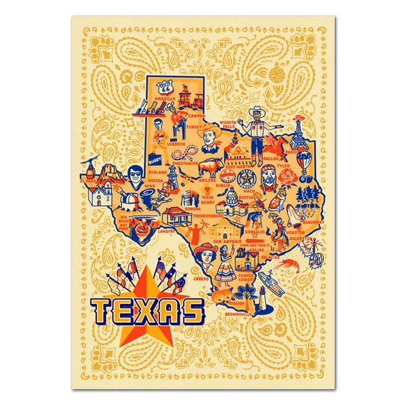 Texas Postcard, Texas Icons Postcard, Texas Map Postcard, TX, Vintage-style  Texas Postcard, Faye Passow Texas Postcard