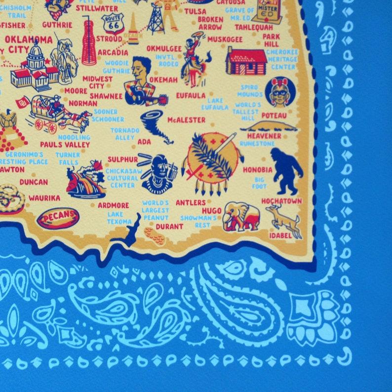 Oklahoma Map Gicl\u00e9e Oklahoma Ink Jet Print archival 16 x 20 Oklahoma Print