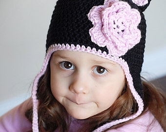 Cat Earflap Hat Crochet Pattern  Instant Download  (Permission to sell all  finished products) 8a992ad92464