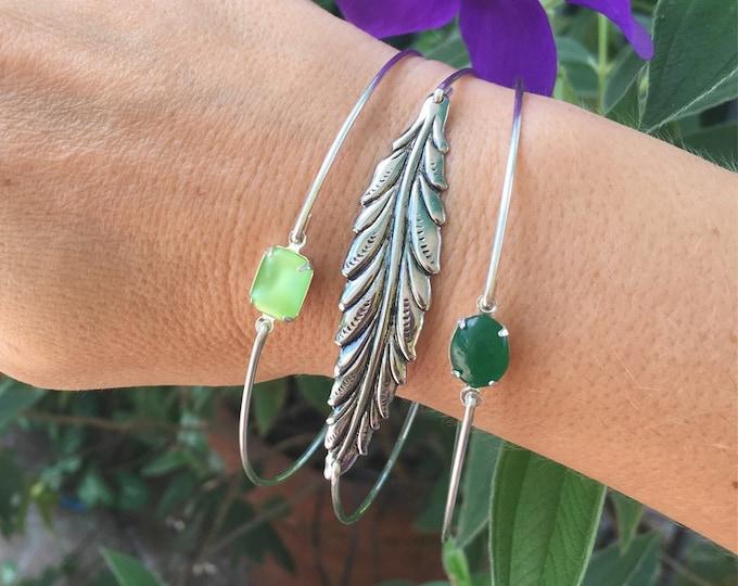 Woodland Bracelet Stack Set Colorful Bracelets for Women Colorful Jewelry Forest Bracelets Nature Lover Leaf Bracelet Green Bangle Bracelets
