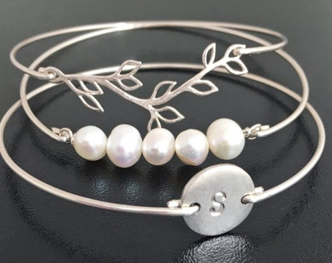 Bridesmaid Bracelet Set or Maid of Honor Bracelet Set Cultured Freshwater Pearl, Branch & Initial Bracelet Wedding Jewelry for Bridesmaid