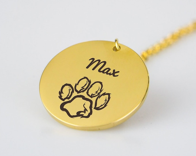 Paw Necklace Personalized with Dog's Name Cat's Name Gift for Dog Lover Gift for Cat Lover