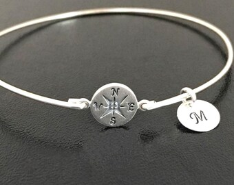Personalized Graduation Gift for Her 2019 Graduation Bracelet for Daughter Sister Teen Girl Best Friend Women Sterling Silver Compass Bangle