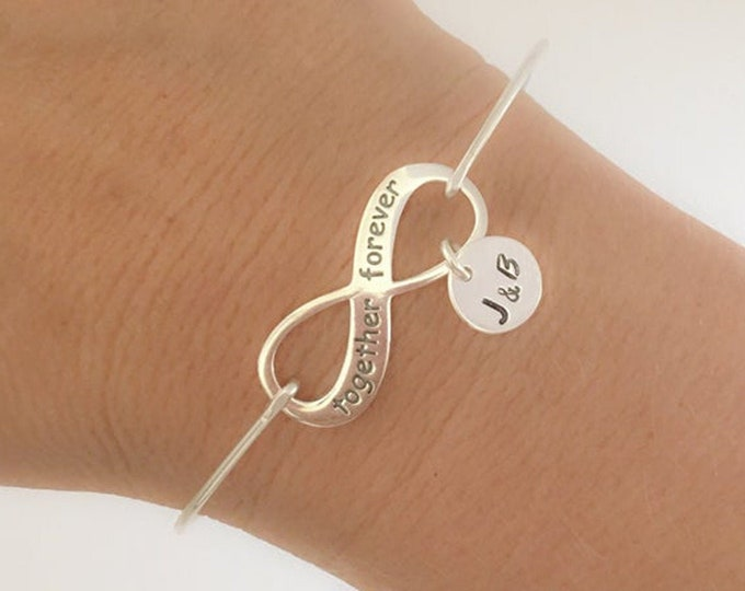 Wife Anniversary Gift for Her Anniversary Jewelry Gift Anniversary Bracelet for Woman Mom Sterling Silver Infinity Bracelet Together Forever