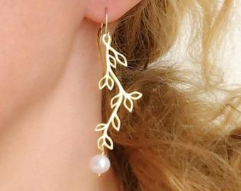 Cultured Freshwater Pearl Earrings Dangle Bridal Pearl Earrings Wedding Gold Plated Olive Branch Earrings Leaf Earrings Bridesmaid Earrings