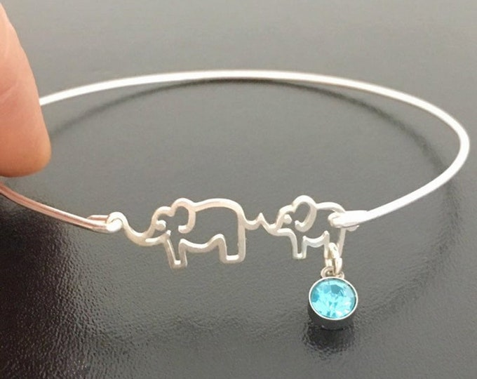 Mama & Baby Elephant New Mom Gift Jewelry First Time Mom Gift Bracelet with Crystal Simulated Birthstone New Mom Jewelry New Mom Bracelet