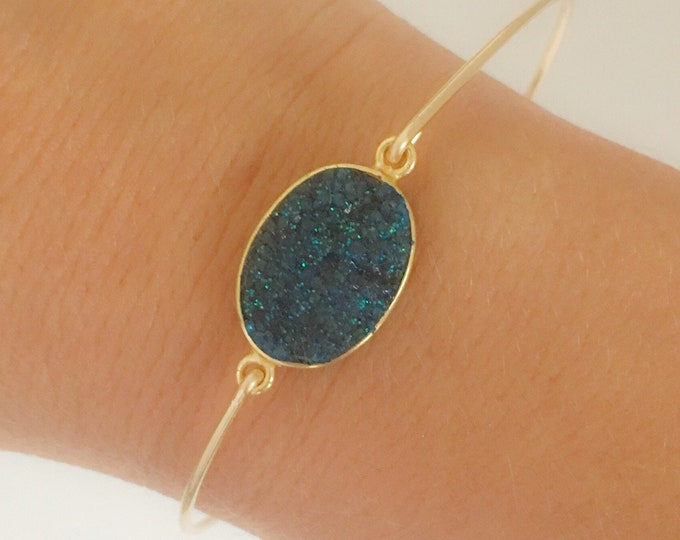 Blue Druzy Bracelet Blue Quartz Bracelet Blue Druzy Jewelry Druzy Bangle Bracelet Blue Drusy Bracelet for Women Drusy Jewelry Quartz Jewelry