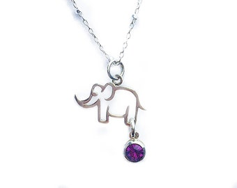 Personalized Elephant Necklace for Her Crystal Sim Birthstone Necklace Teen Girl Christmas Gift for Daughter from Mom Teens Stocking Stuffer