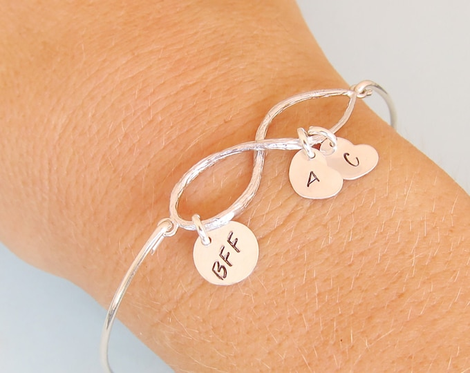 BFF Bracelets for 2 BFF Bracelet Set of 2 Bangles Personalized Best Friend Gifts for 2 Friendship Gift Christmas Gift for BFF Birthday Gift