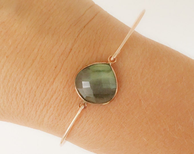 Labradorite Bracelet Labradorite Stone Bracelet Rose Gold Filled Labradorite Jewelry Gemstone Bangle Bracelet Labradorite Bangle Bracelet