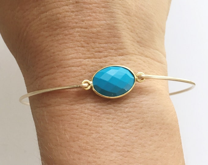 Blue Bracelet for Women • Reconstituted Turquoise • Bracelet for Bridesmaids Gifts • Blue Jewelry for Wedding • 14k Gold Filled Bangle