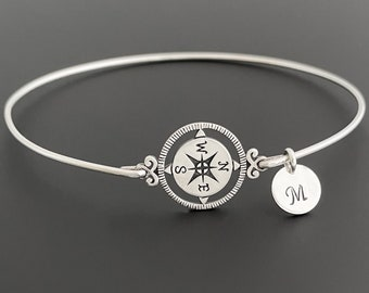 Personalized Graduation Gift for Her 2021 Graduation Bracelet for Daughter Sister Teen Girl Best Friend Women Sterling Silver Compass Bangle
