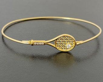 Tennis Bangle Bracelet Tennis Racket Charm 24k Gold Plated w/ Rhinestone Tennis Ball, Tennis Lover Gift Tennis Player Gift Tennis Fan Gift