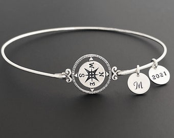 Personalized Compass Bracelet Grad Gift Graduation Bracelet Class of 2021 w/ Her Initial Sterling Silver Best Friend Girl Graduation Jewelry