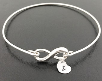 Mini Sterling Silver Infinity Bracelet Initial Charm Teenage Daughter Birthday Gift From Mom or Dad Teenage Girl Jewelry Teen Girl Gift Idea