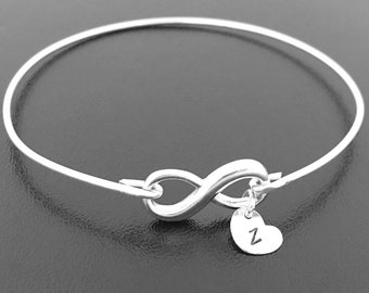 Mini Sterling Silver Infinity Bracelet Initial Charm Bracelet Unique Gift Teenage Daughter Christmas Gift Teen Sister Jewelry Teen Girl Gift