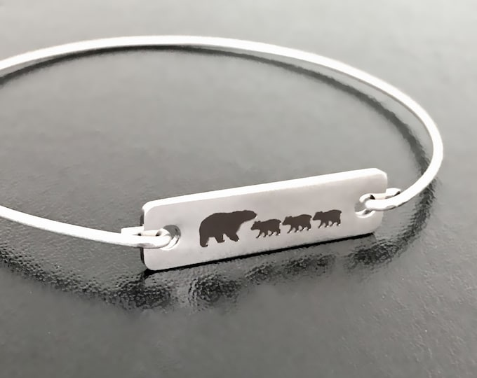 Mama Bear Gift for Wife from Husband Birthday Gift from Kid Son Daughter Mother of 3 Gift Mother with Three Daughters Jewelry Mom of 3 Kids