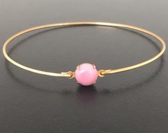 Pink Bangle Bracelet Pink Bridesmaid Gift Pink Bridesmaid Bracelet Pink Bridesmaid Jewelry Pink Rose Bracelet Pink Bridal Jewelry