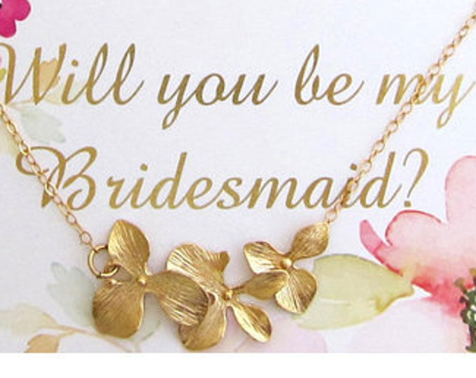 Orchid Necklace Will You Be My Bridesmaid Proposal Gift Box w/ Card Gift Bridesmaid Proposal Necklace Box Will You Be My Bridesmaid Necklace