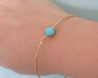 Dainty Blue Gold Tone Bracelet Blue Wedding Bracelet Blue Bridesmaid Bracelet Bangle Blue Bride Bracelet Blue Bridal Bracelet Blue Bracelet