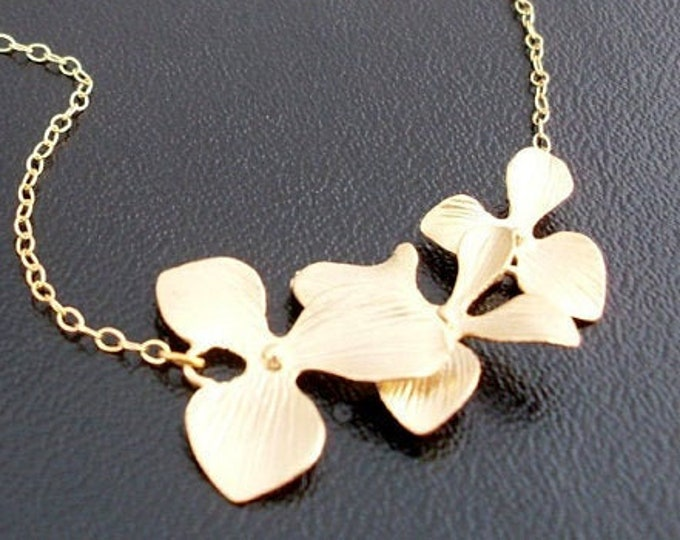 Orchid Necklace Gold Plated Orchid Flower Charm 14k GoldFill Chain Gift for Bridesmaid Necklace Bridesmaid Jewelry Flower Necklace for Women