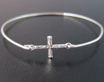 Cross Jewelry for Women Cross Bracelet Silver Tone Faith Bracelet Christian Gift for Her Gift for Friend Christian Bracelet Faith Jewelry