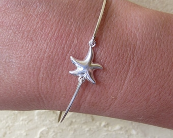 Sterling Silver Starfish Bracelet Bangle Starfish Jewelry Beach Wedding Bridesmaid Gift Starfish Bridesmaid Bracelet Star Fish Bracelet