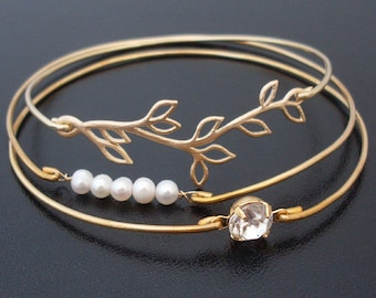 Romantic Wedding Bracelet Set, Bridal Bracelets, Bridal Jewelry, Wedding Jewelry, Cultured Freshwater Pearls, Gold Plated Branch, Rhinestone