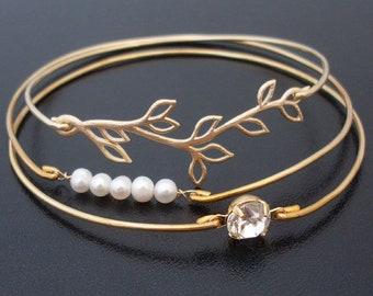 Romantic Wedding Bracelet Set Bridal Bracelets Bridal Jewelry Wedding Jewelry Cultured Freshwater Pearls Gold Plated Olive Branch Rhinestone