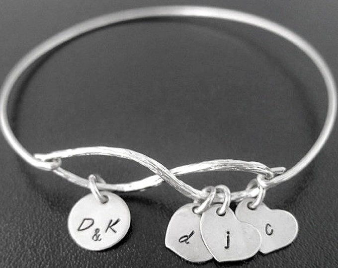 Personalized Mothers Day Bracelet Women Gift Idea Sentimental Bracelet from Daughter from Son with Initial Charms Sentimental Gift for Mom