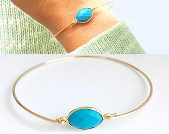 Turquoise Bracelet Turquoise Jewelry Blue Bracelet for Women 14k Gold Filled Blue Gemstone Bracelet Bangle December Blue Stone Bracelet
