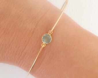 March Birthstone Bracelet Aquamarine Bracelet for Women Aquamarine Jewelry 14k Gold Filled Bangle Blue Stone Bracelet Blue Gemstone Bracelet