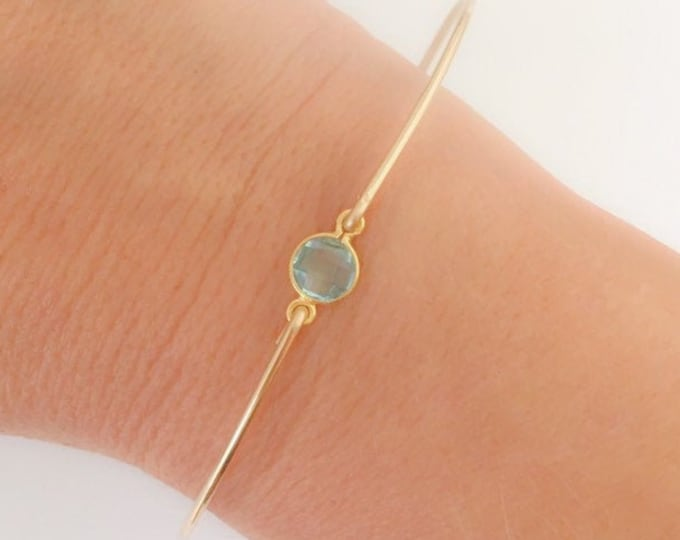 March Birthstone Bracelet Aquamarine Bracelet for Women Aquamarine Jewelry 14k Gold Filled Bangle Blue Stone Bracelet Blue Gemstone Bracelet