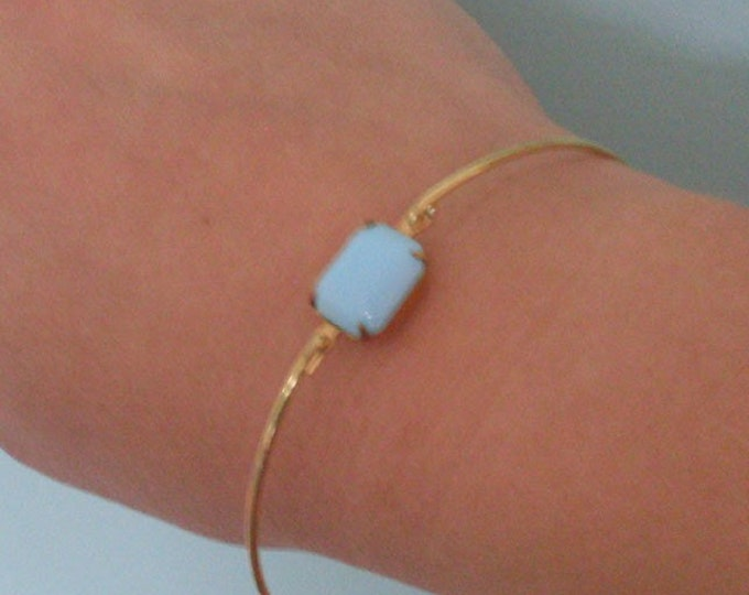 Blue Bangle Bracelet Blue Glass Bracelet Blue Bride Bangle Blue Bridal Bangle Bracelet Blue Bridesmaid Bangle Blue Wedding Bangle Bracelet