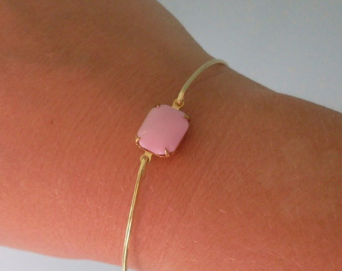 Light Pink Bracelet Pink Bangle Bracelet for Women Light Pink Jewelry Pink Bridesmaid Jewelry Pink Bridesmaid Bracelet Pink Wedding Jewelry