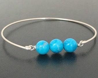 Simulated Turquoise Bead Bracelet for Women Howlite Stone Sim December Birthstone Bracelet December Birthday Jewelry Gift Blue Bead Bracelet