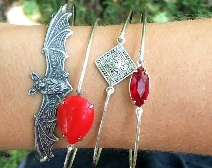 Bat Bangle Bracelet Stack Gothic Jewelry Silver Tone Goth Jewelry for Women Gothic Bracelets Spooky Jewelry Spooky Bracelets Goth Bracelets