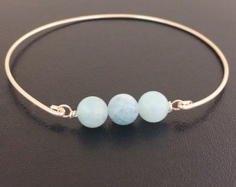 Aquamarine Bracelet Sterling Silver Aquamarine Bangle Women Blue Bead Bracelet March Birthday Jewelry Gift Idea March Birthday Gift for Her