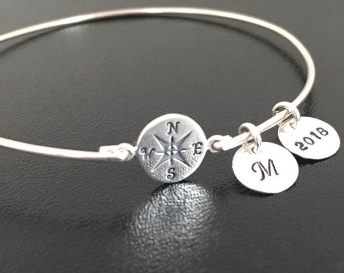 Personalized Compass Bracelet Grad Gift Graduation Bracelet 2019 for Her Sterling Silver with Initials Best Friend Girl Graduation Jewelry