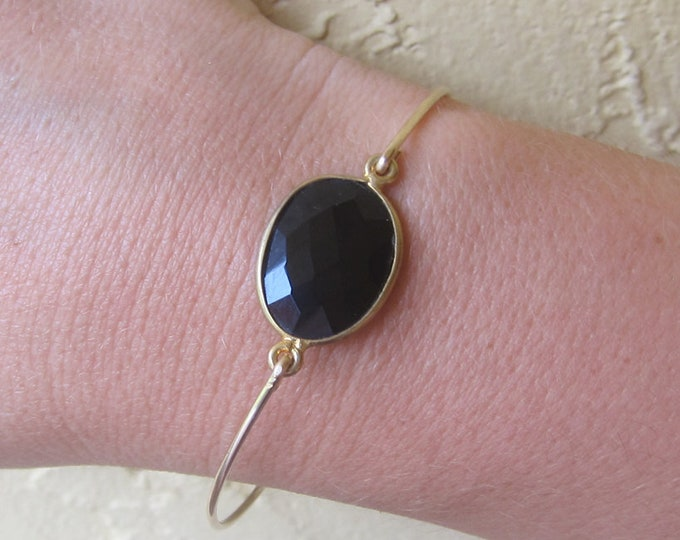 Black Onyx Bracelet for Women Black Onyx Bangle 14k Gold Fill Black Onyx Jewelry Black Gemstone Bracelet Stone Jewelry Black Stone Bracelet