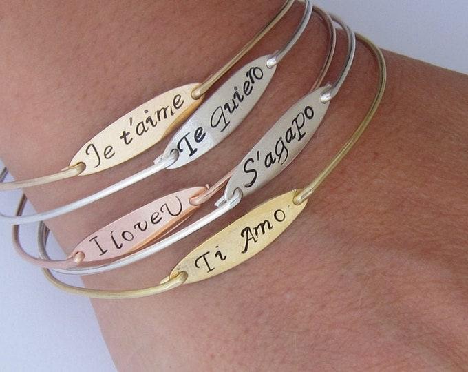 I Love You Je t'aime Bracelet French Jewelry Te Quiero Te Amo Spanish Italy Gift for Women Bracelet Italian Jewelry German French Gift Her