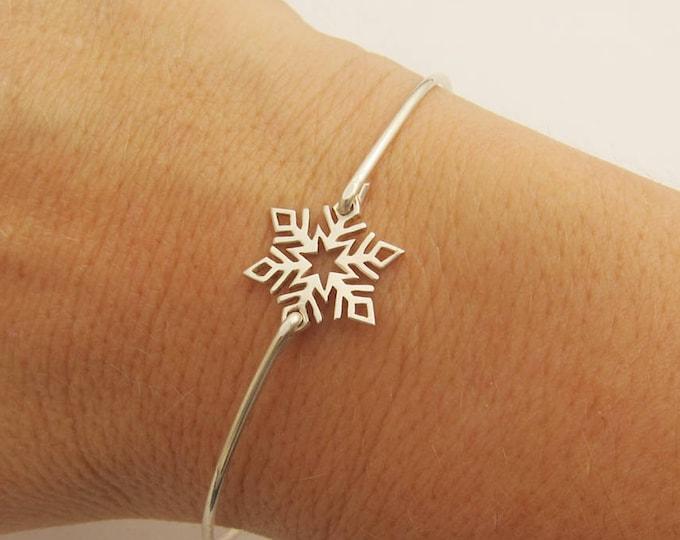 Sterling Silver Snowflake Bracelet Bridesmaid Gift Winter Wedding Jewelry Snowflake Jewelry Winter Wedding Bracelet Winter Jewelry Fashion