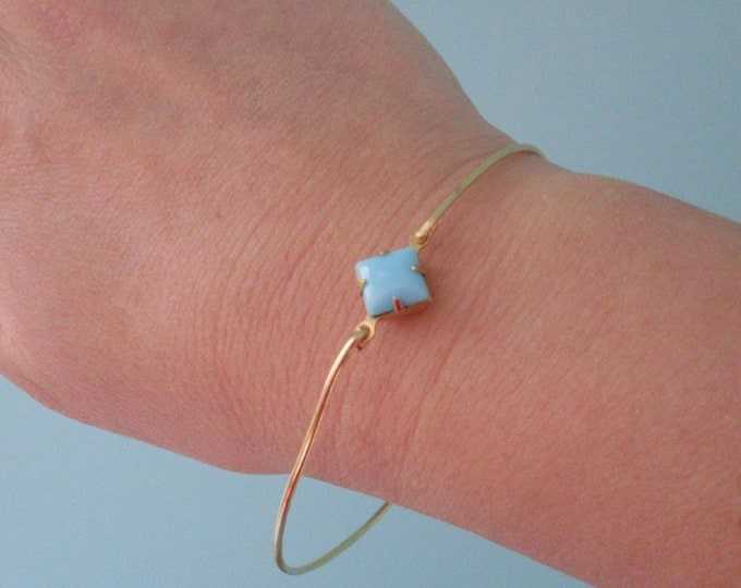 Blue Bangle Bracelet, Light Blue Bracelet, Light Blue Jewelry Light Blue Bangle Bracelet