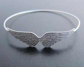 Angel Wing Bracelet Wing Bangle Silver Tone Angel Bracelet Angel Wings Jewelry Angel Gift for Mom Nana Grandma Women Friend Angel Jewelry