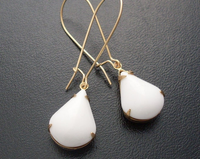 White Earrings, Gold Tone