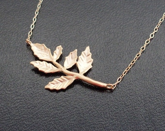 Autumn Leaf Necklace, Gold Plated Leaf Charm, Branch Necklace, Nature Necklace, Nature Wedding, Fall Necklace, Bridesmaid Necklace
