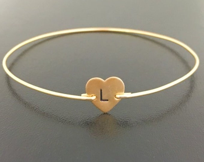 Heart Initial Bracelet Initial Heart Bracelet Teen Valentine Jewelry Teen Girl Valentines Day Gift for Teen Daughter Heart Charm Bracelet